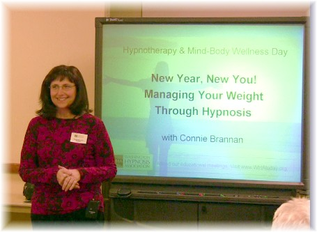 Connie presenting a talk at Evergreen Hospital Medical Center 1-16-10
